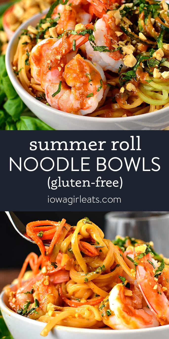Photo collage of summer roll noodle bowls