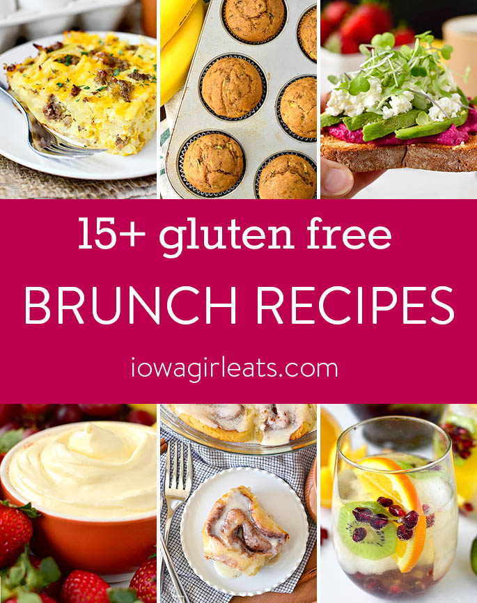 Photo collage of gluten free brunch recipes