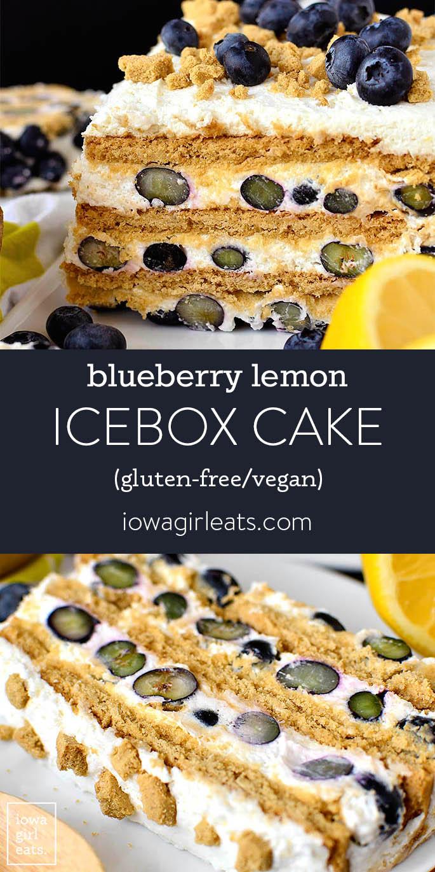 photo collage of blueberry lemon icebox cake