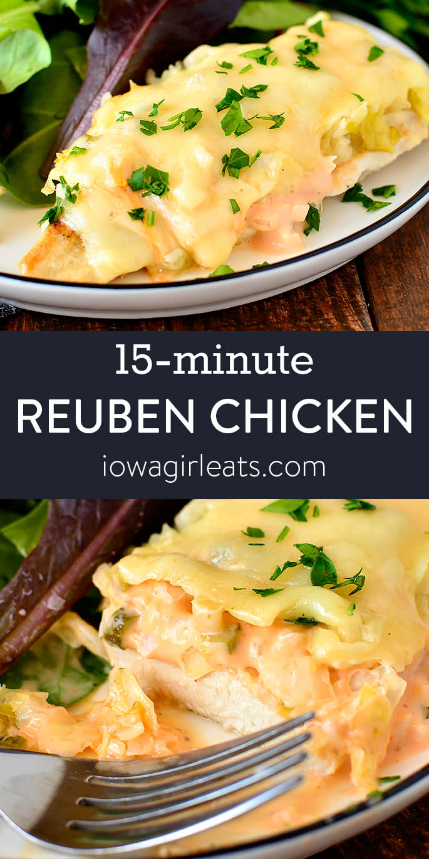 Photo collage of reuben chicken skillet