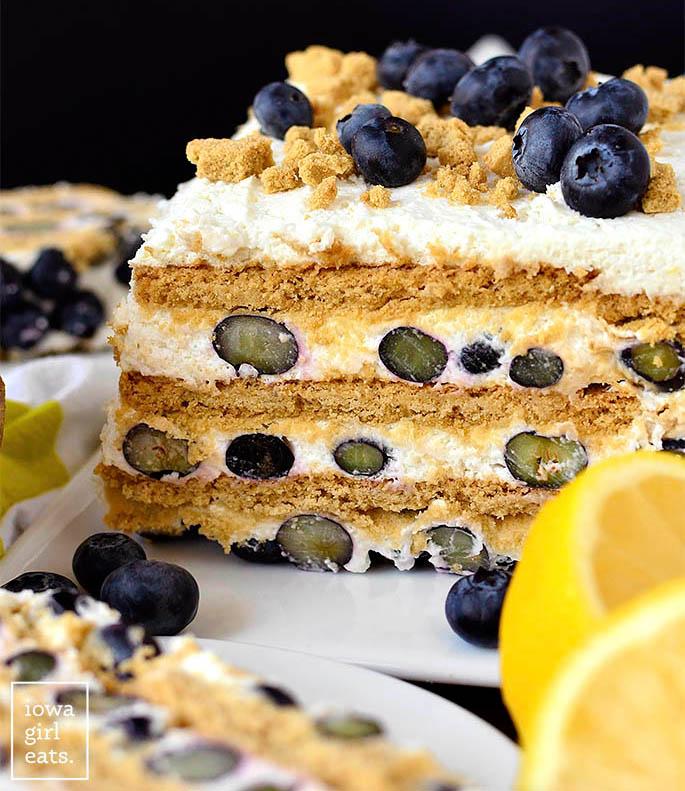a blueberry lemon icebox cake cut in half