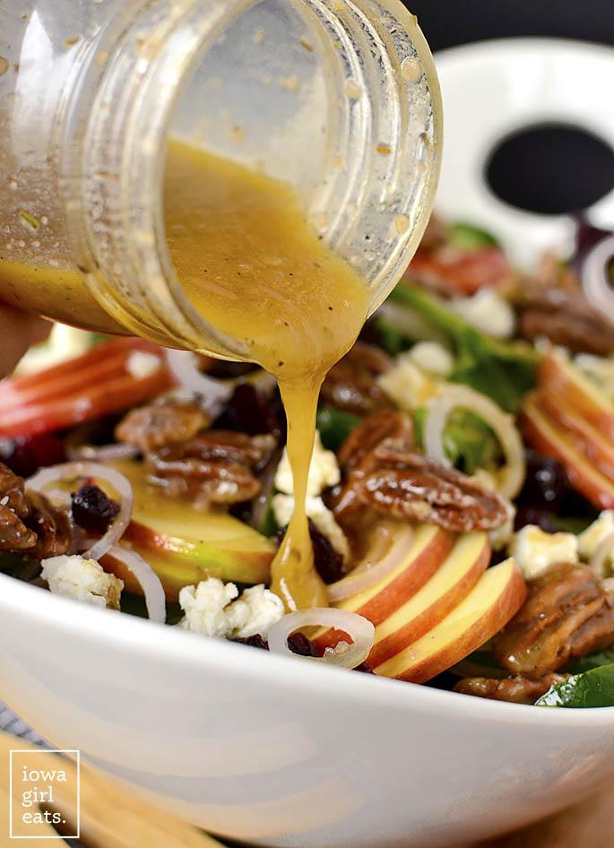 Red Wine Vinaigrette drizzled over Maple-Bourbon Pecan Salad