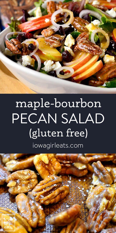 Photo collage of maple bourbon pecan salad