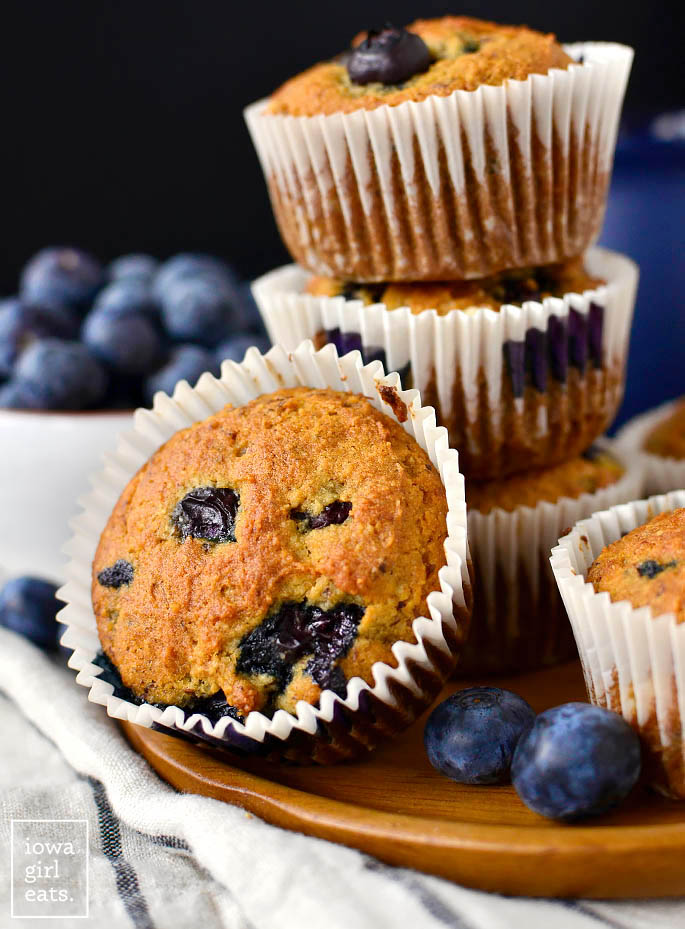 close up view of an almond flour blueberry muffin