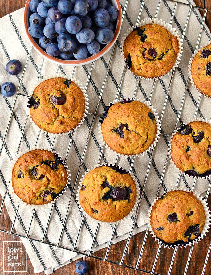 almond flour blueberry muffins on a cooling rack