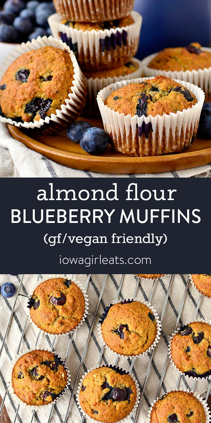 photo collage of almond flour blueberry muffins