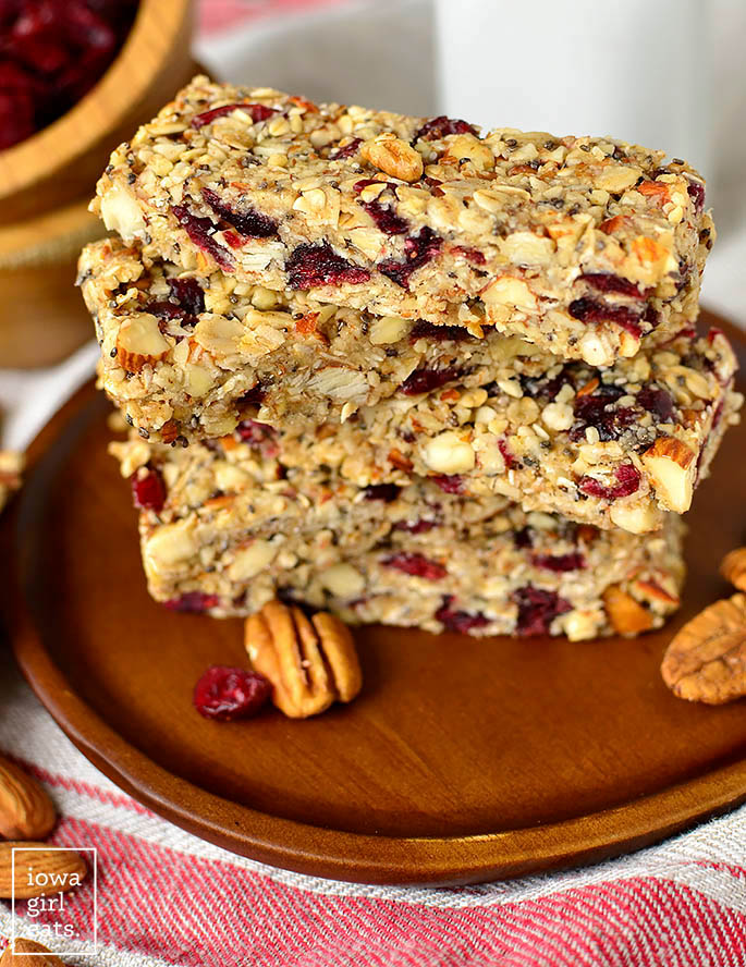 homemade chewy granola bars on a plate