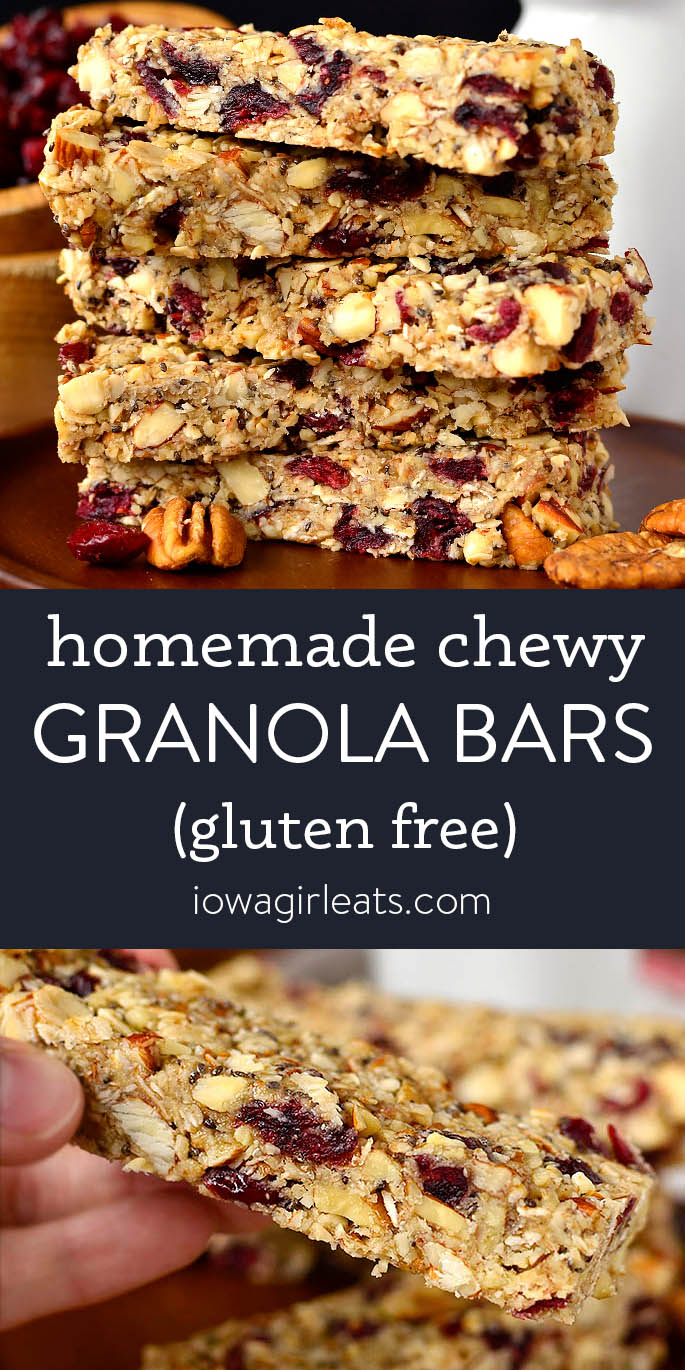 Photo collage of homemade chewy granola bars