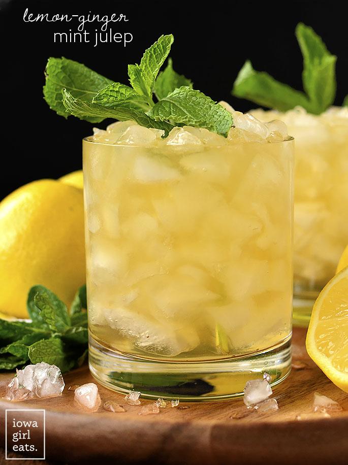Photo of two Lemon-Ginger Mint Juleps | iowagirleats.com