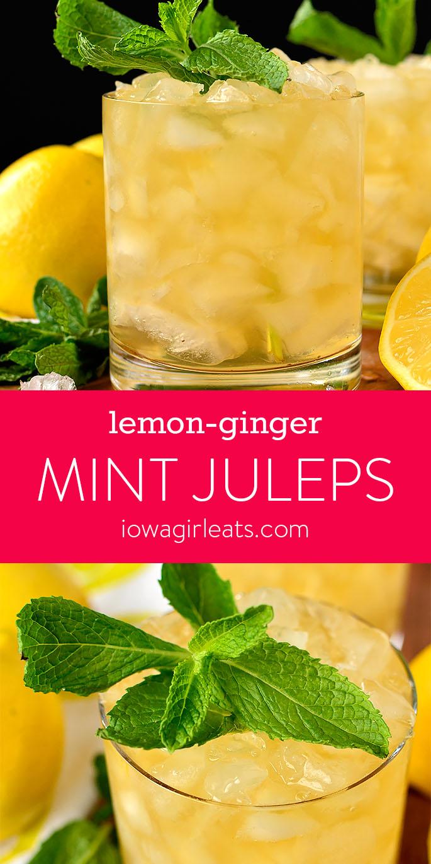 Photo collage of Lemon-Ginger Mint Juleps | iowagirleats.com