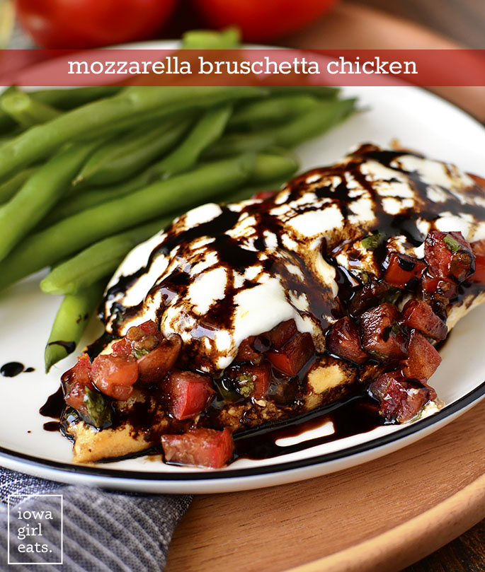 Plate of Mozzarella Bruschetta Chicken | iowagirleats.com