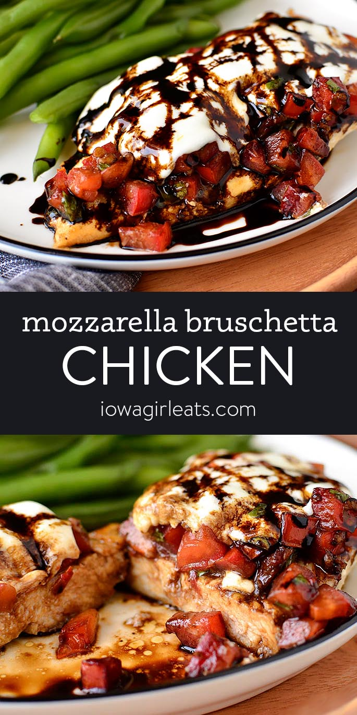 Photo collage of mozzarella bruschetta chicken