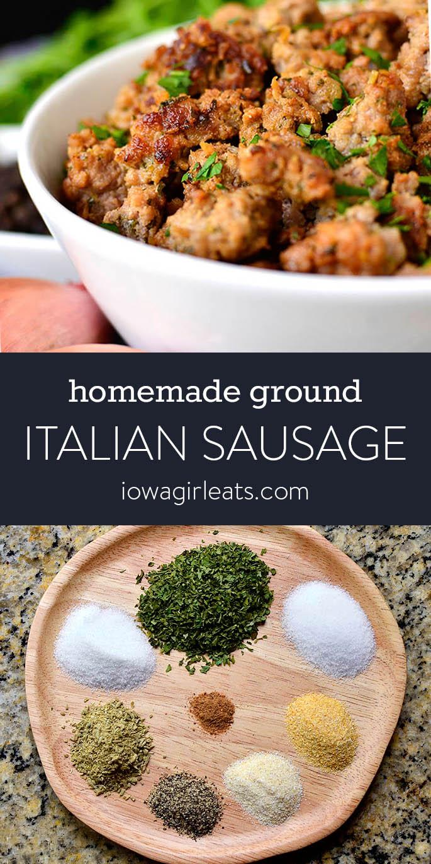 Photo collage of homemade ground italian sausage
