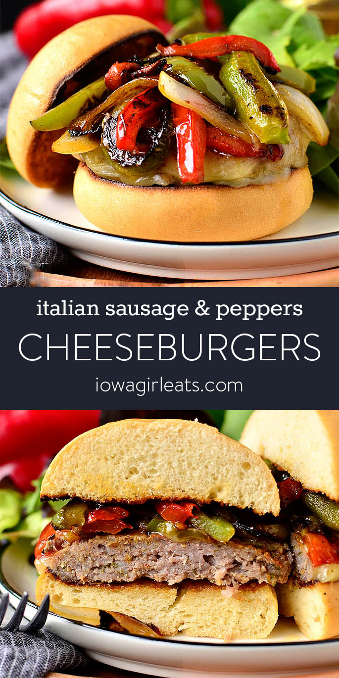 Photo collage of italian sausage and peppers cheeseburgers