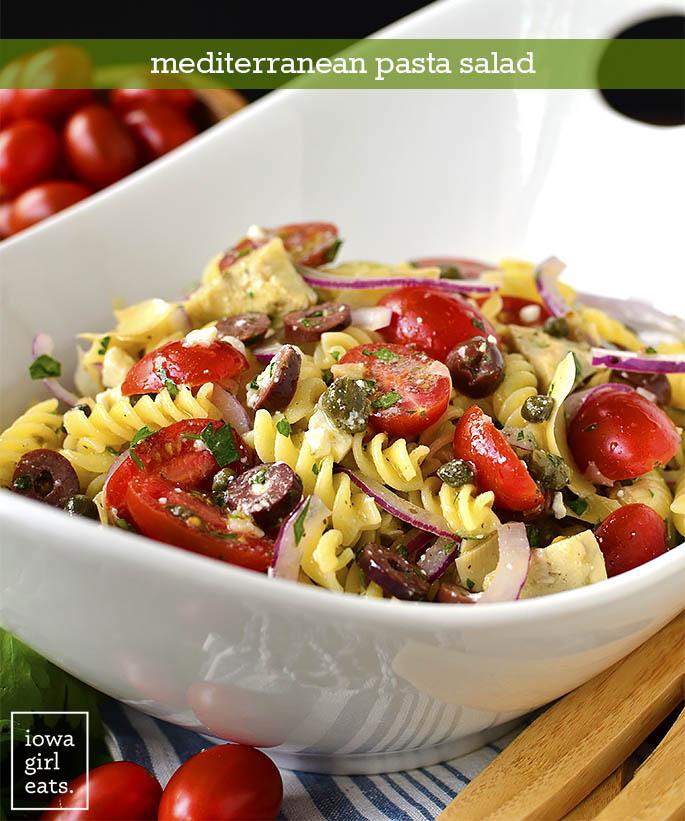 Serving bowl of Mediterranean Pasta Salad