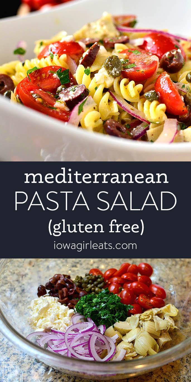Photo collage of mediterranean pasta salad
