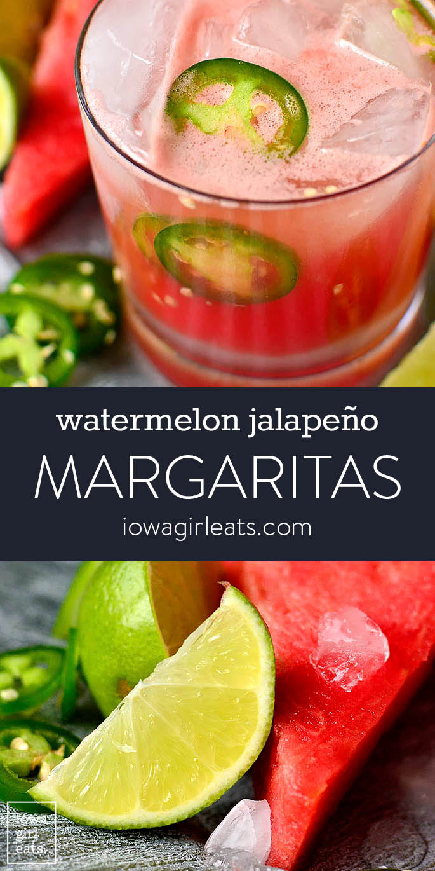 photo collage of watermelon jalapeno margaritas