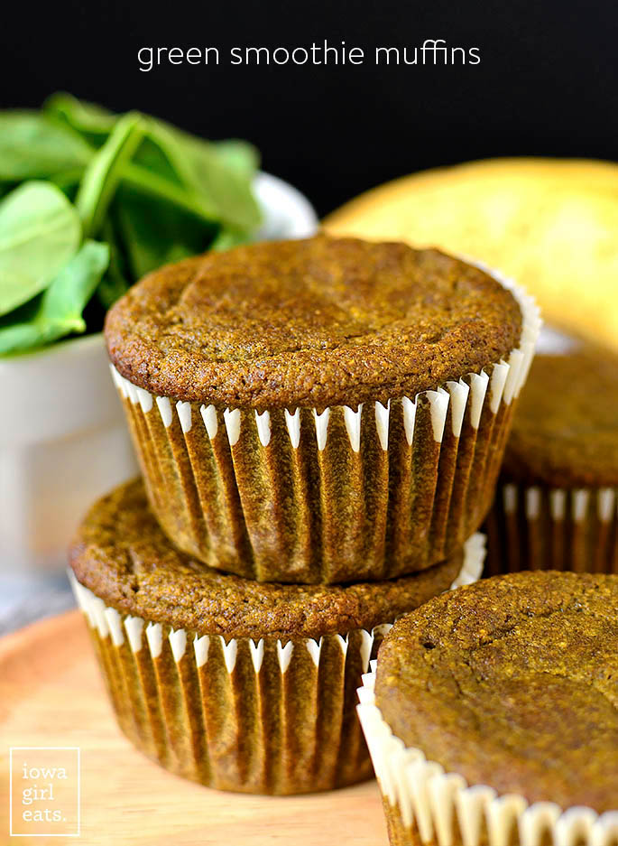 green smoothie muffins stacked on top of each other