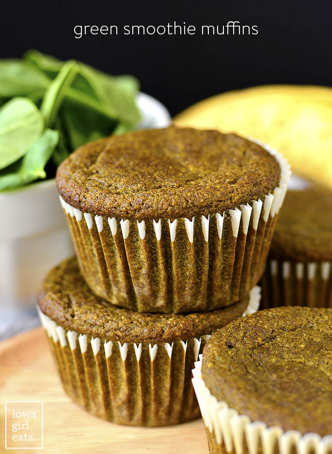 Stack of Green Smoothie Muffins