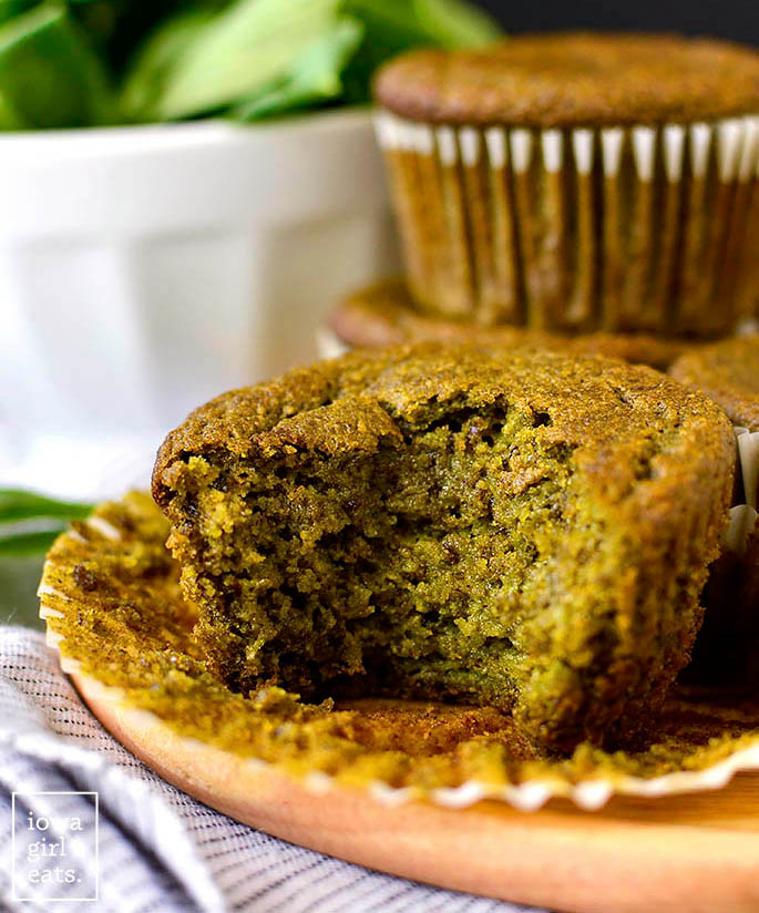 spinach muffin with a bite taken out