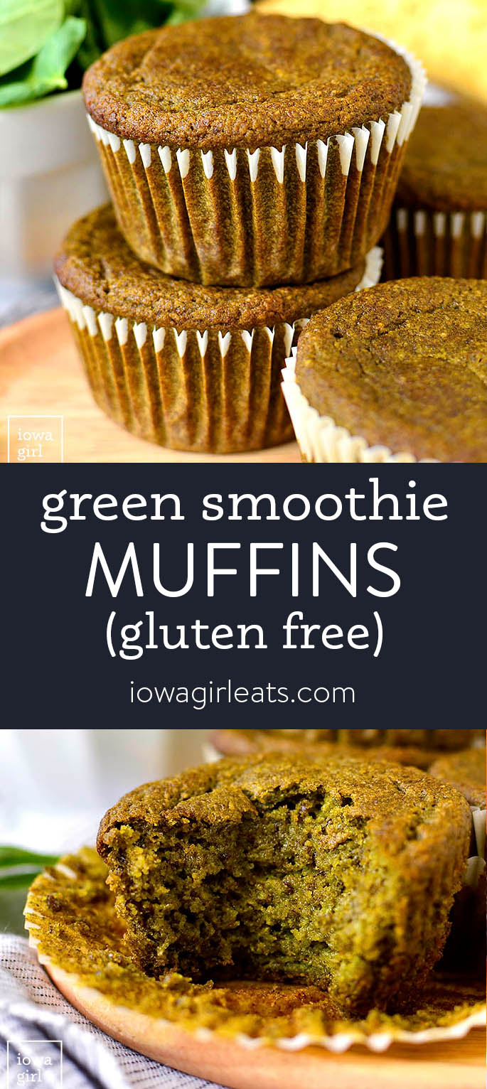 Photo collage of green smoothie muffins