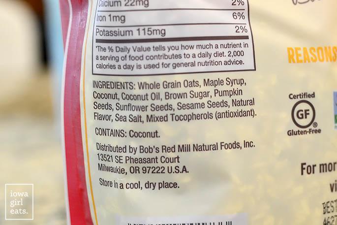 Bob's Red Mill Granola Ingredients