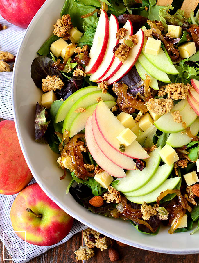 Overhead photo of a bowl of Apple Orchard Salad