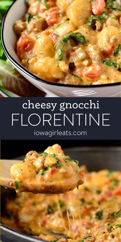 Photo collage of cheesy gnocchi florentine