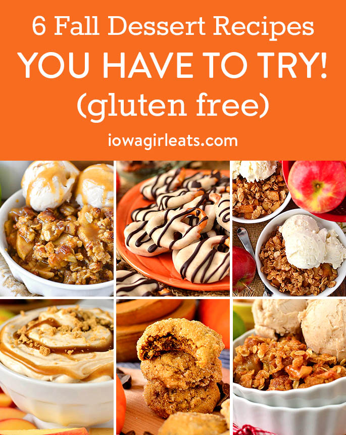 Photo collage of gluten free fall dessert recipes you have to try.