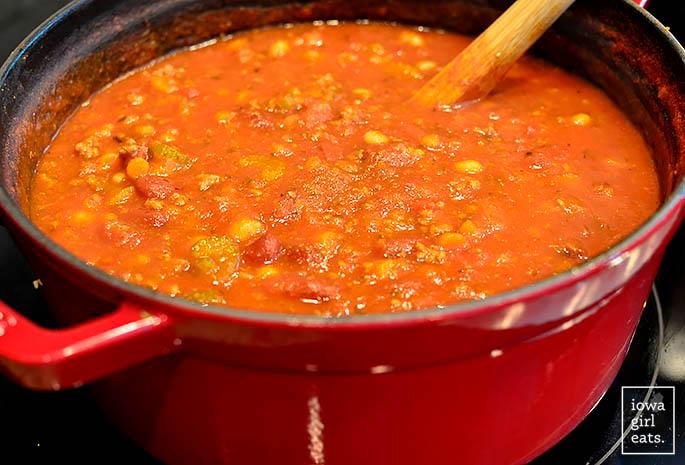 big pot of pasta e fagioli