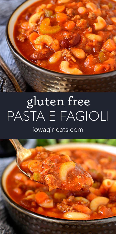 Photo collage of Pasta e Fagioli Soup