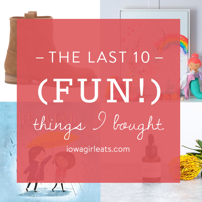 Photo collage of fun things to buy.