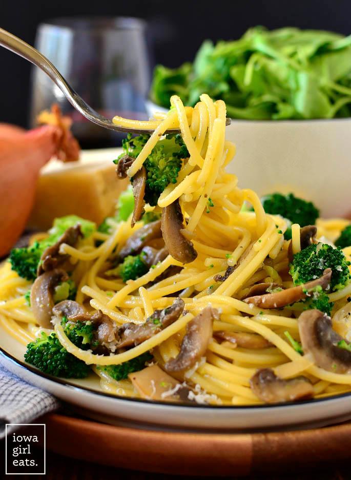 fork twirling parmesan noodles