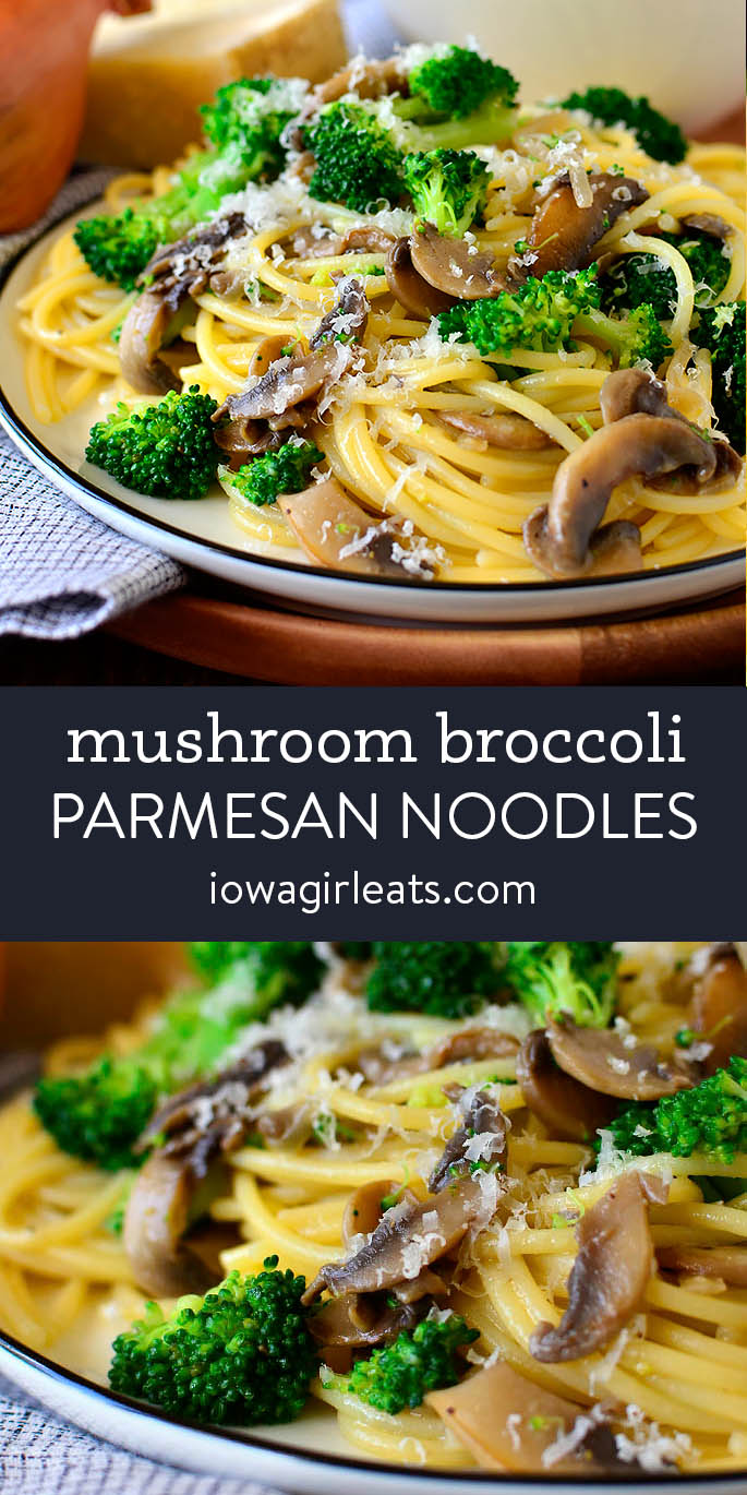 photo collage of mushroom and broccoli parmesan noodles