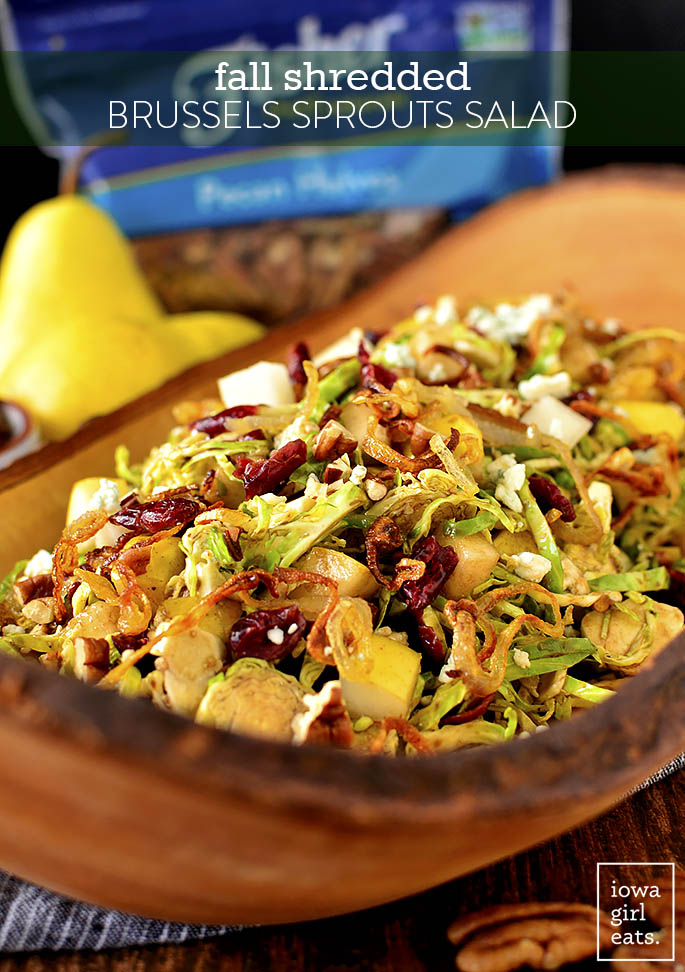 Large bowl of Fall Shredded Brussels Sprouts Salad