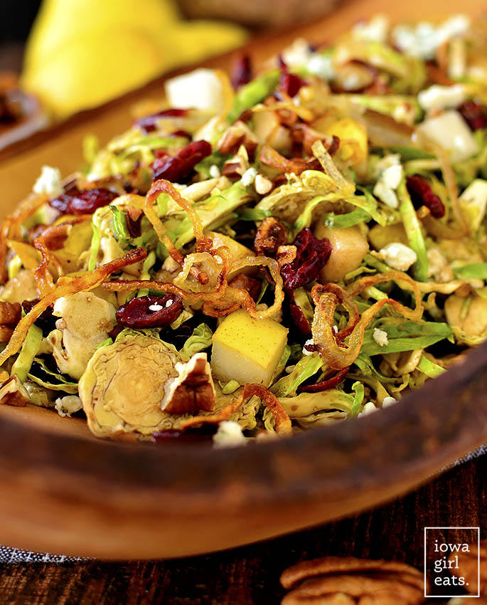 Bowl of Fall Shredded Brussels Sprouts Salad