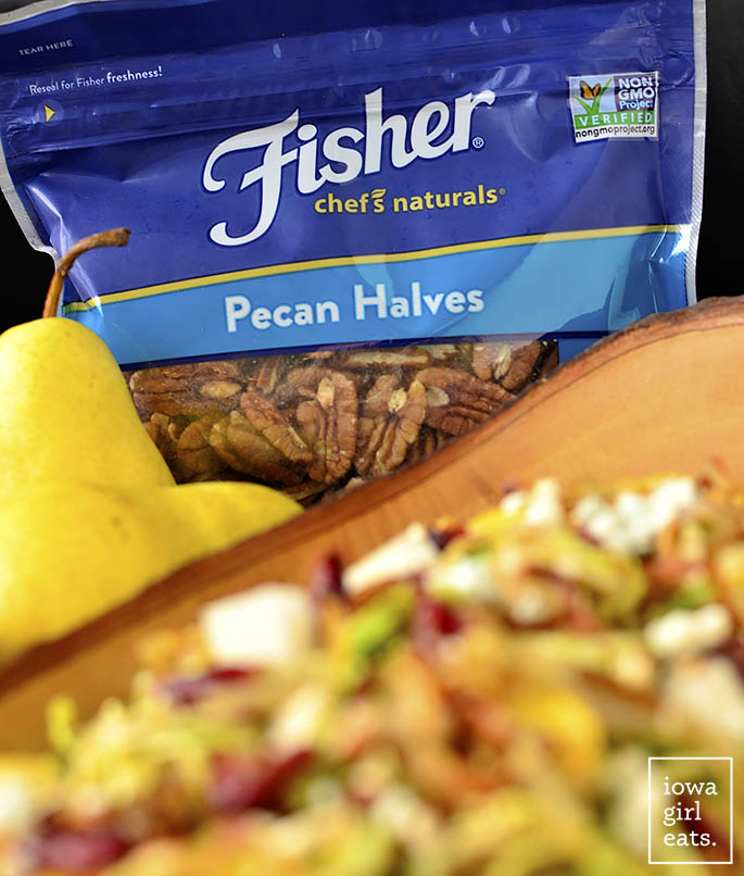 Fisher Nuts used in Fall Shredded Brussels Sprouts Salad