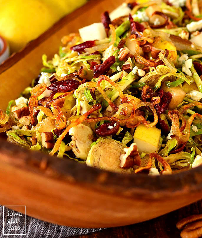 gorgeous Fall Shredded Brussels Sprouts Salad in a serving bowl