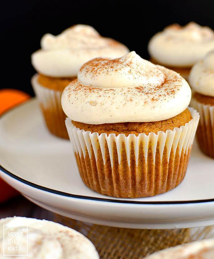 Plate of Gluten Free Pumpkin Cupcakes