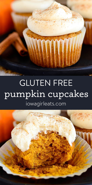 Photo collage of Gluten Free Pumpkin Cupcakes