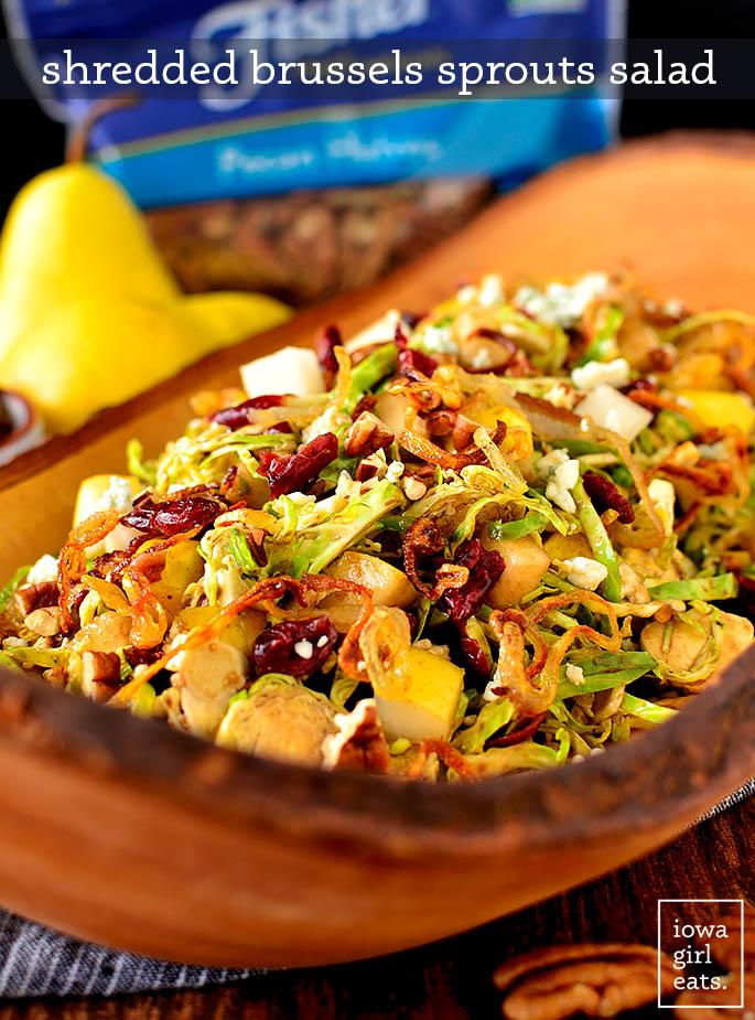 Large serving bowl of Shredded Brussels Sprouts Salad