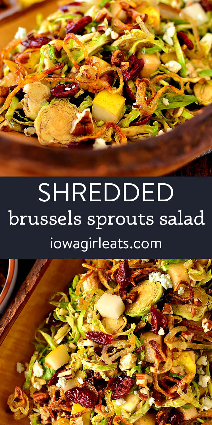photo collage of shredded brussels sprouts salad