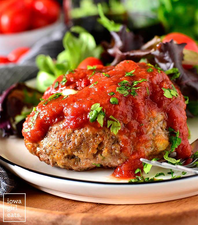 Stuffed Italian Meatball Mini Maeatloaves on a plate.
