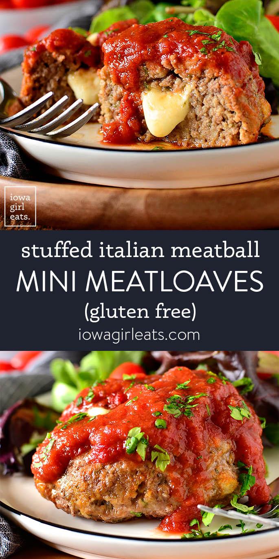 Photo collage of Stuffed Italian Meatball Mini Meatloaves