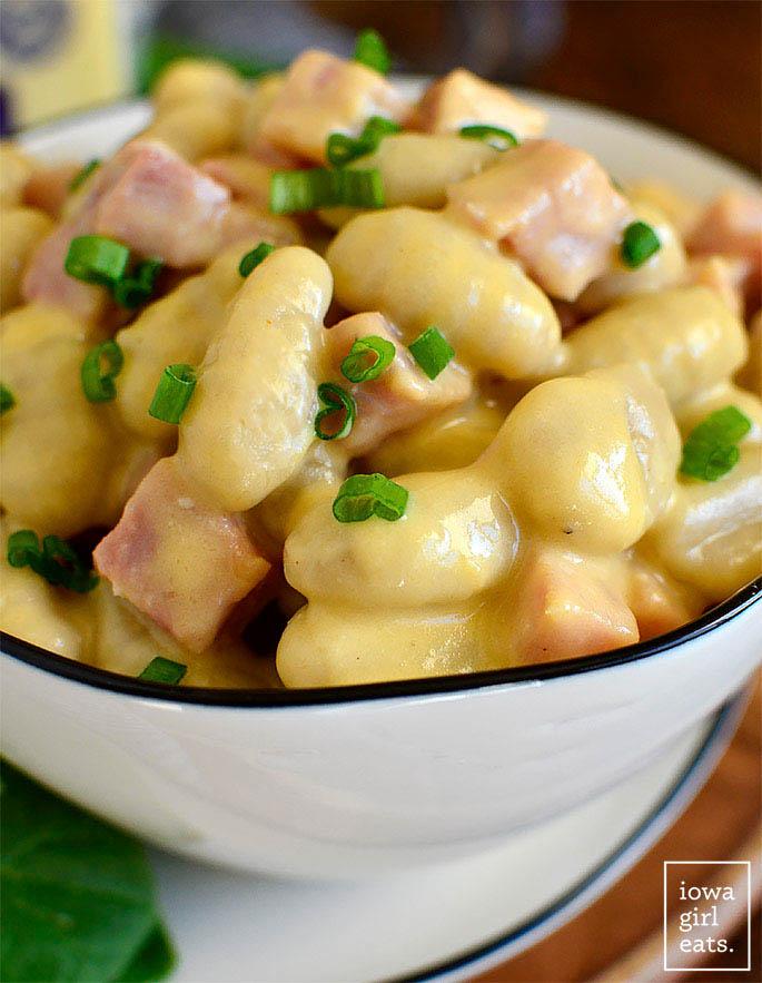Close up photo of Ham and Gnocchi Mac and Cheese