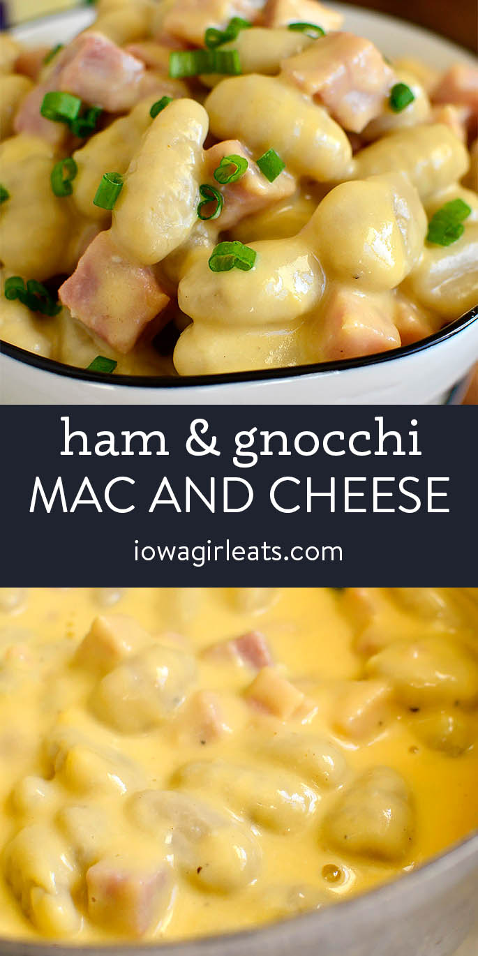 Photo collage of Ham and Gnocchi Mac and Cheese