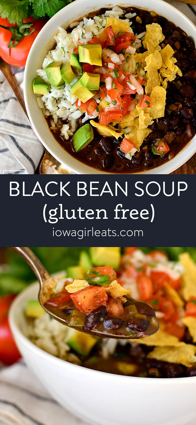 photo collage of black bean soup