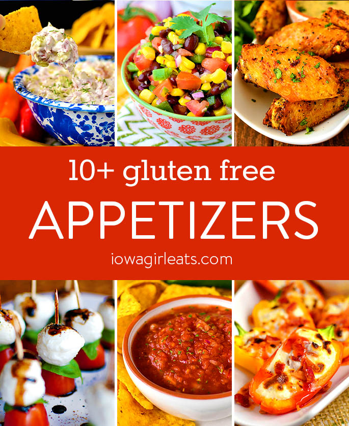 Photo collage of gluten free appetizer recipes
