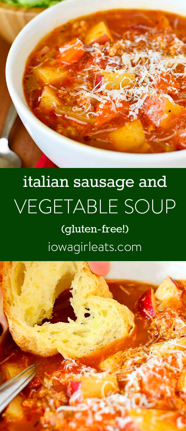 Photo collage of Italian Sausage and Vegetable Soup