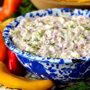 Pickle Wrap Dip in a bowl
